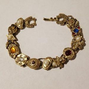 Vintage Double Strand Slide Charm Bracelet